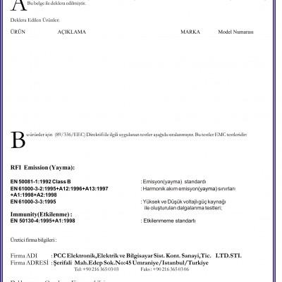 PCC Elektronik Sertifikaları