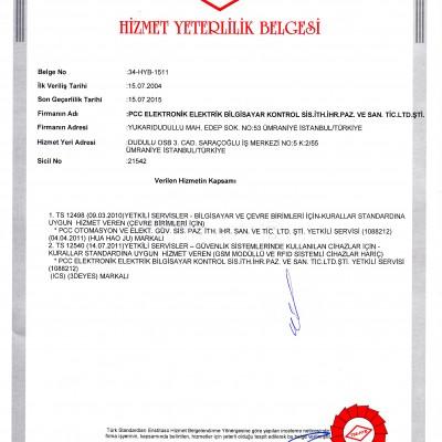 Türk Standartları Enstitüsü - Hizmet Yeterlilik Belgesi - PCC